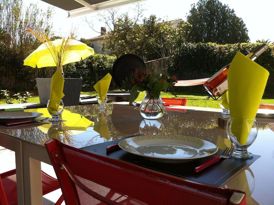 Barbecue ..;Déjeuner à l'ombre sur la terrasse.