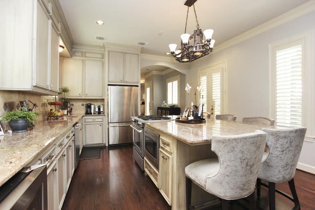 Functional kitchen with wine cooler, microwave, oven