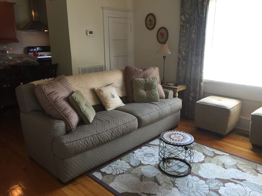 Living room features Rowe furniture