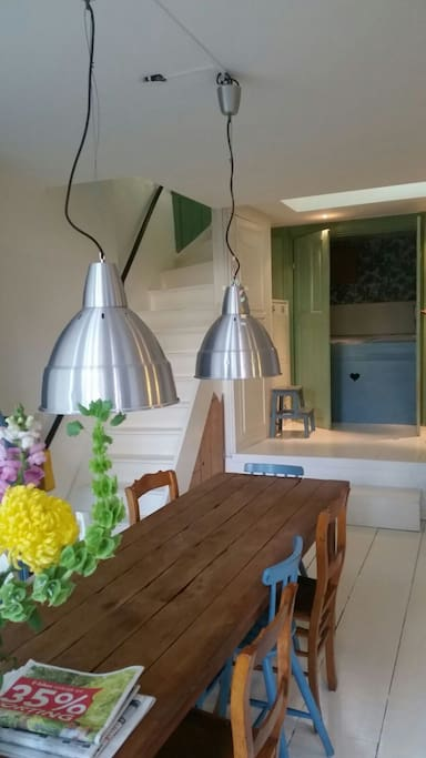 Kitchen / dining with bedstee (traditional Dutch bed) bathroom & separate toilet.