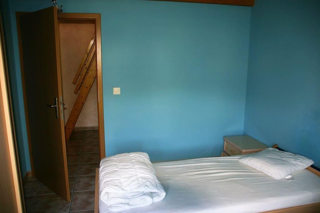 Photo lit chambre bleue
