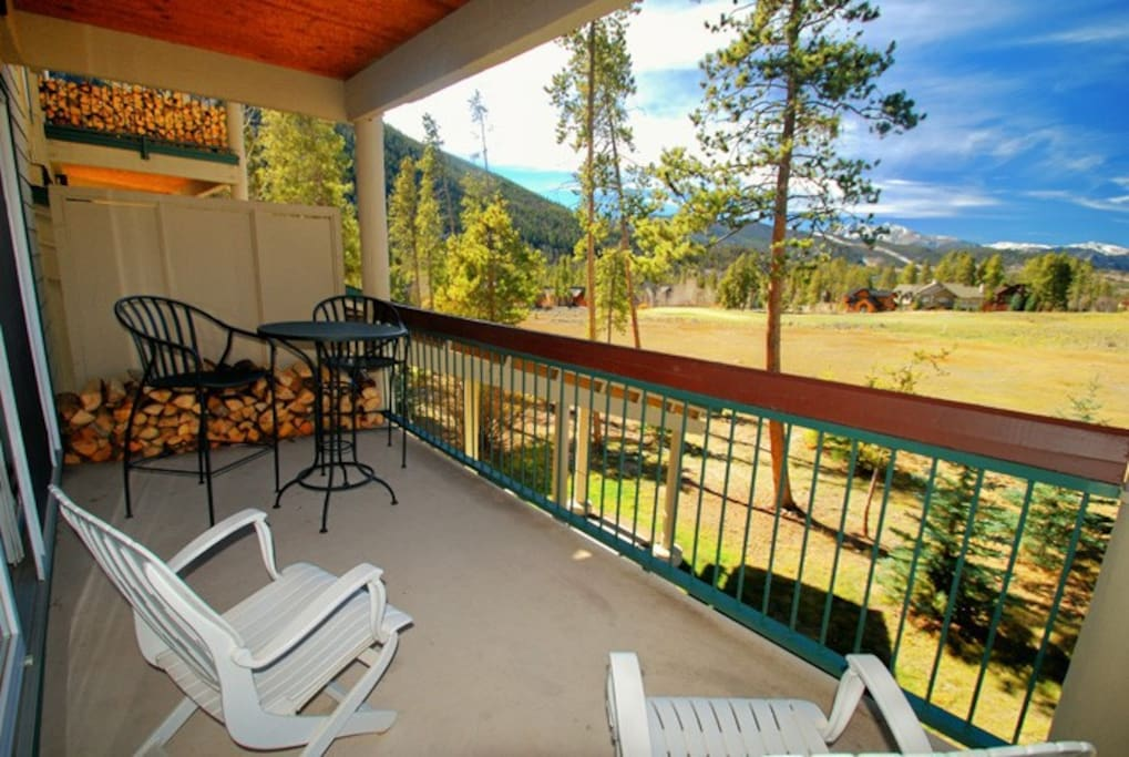 Spacious balcony overlooking panoramic views of the River Golf Course and the Colorado Rocky Mountains