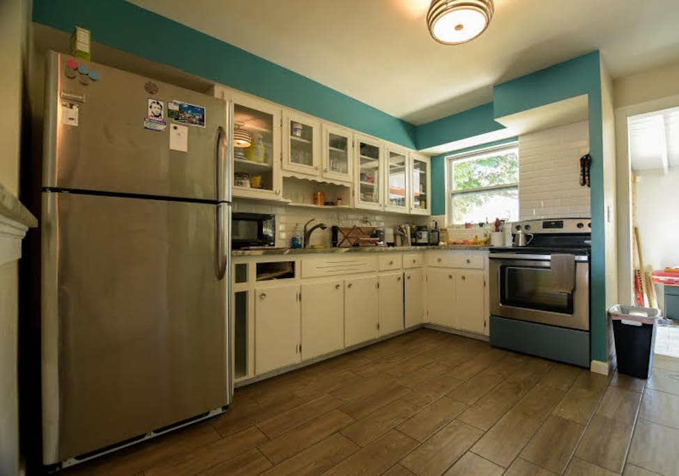 View of the kitchen. Guests have access to the fridge, utensils, and cooking equipment.