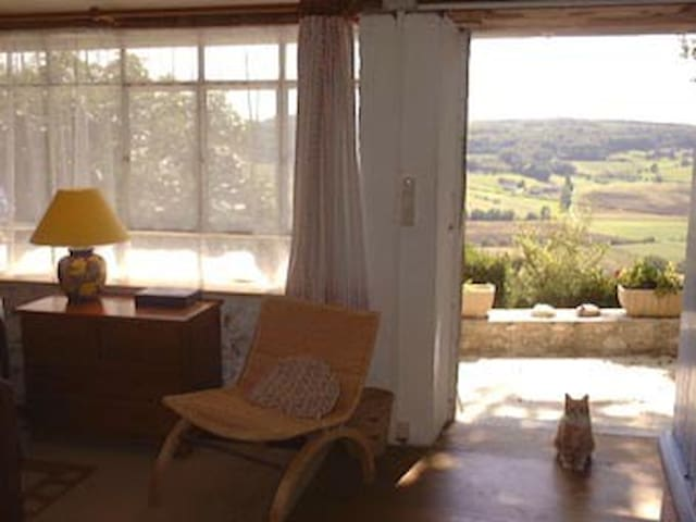 Vue imprenable depuis studio et sa grande terrasse. Great views across the valley from the bedsitting room and its wide terrace?