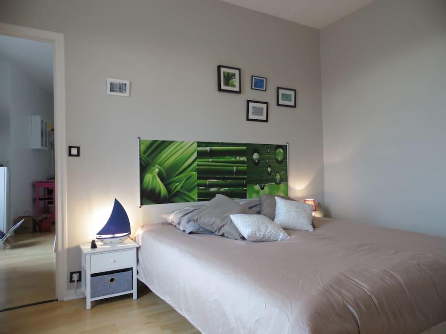 La chambre : un grand lit...