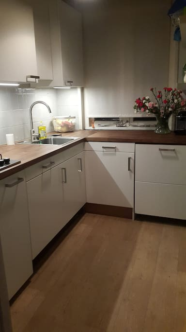 The kitchen, has a dishwasher and combi microwave/oven