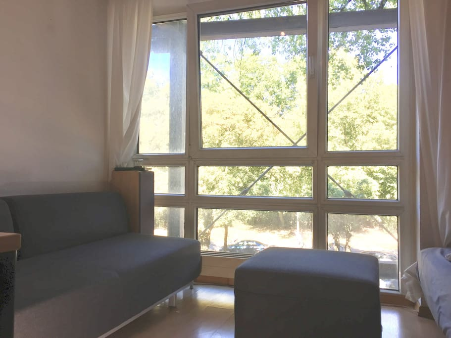 Couch with large window side