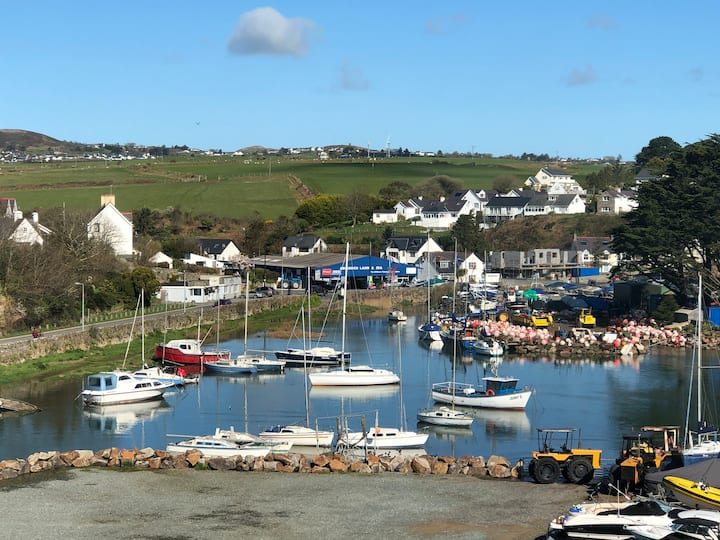Central Abersoch with harbour and sea views