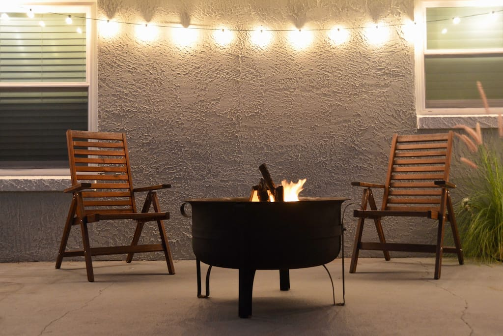 Our back porch offers the quiet comfort to reflect on a long day or just relax and take in the smell of the salty air and the sounds of the crackling fire.