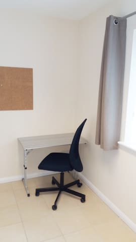 The single bedroom also has a work area should you need somewhere private to work.