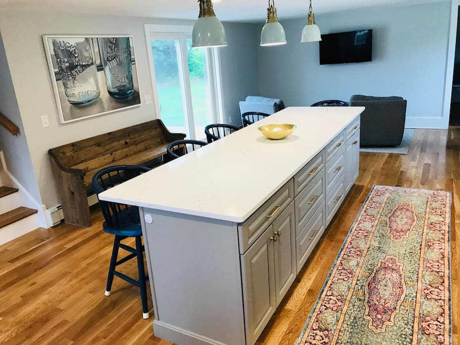 Newly renovated kitchen with 11 foot island that seats 5