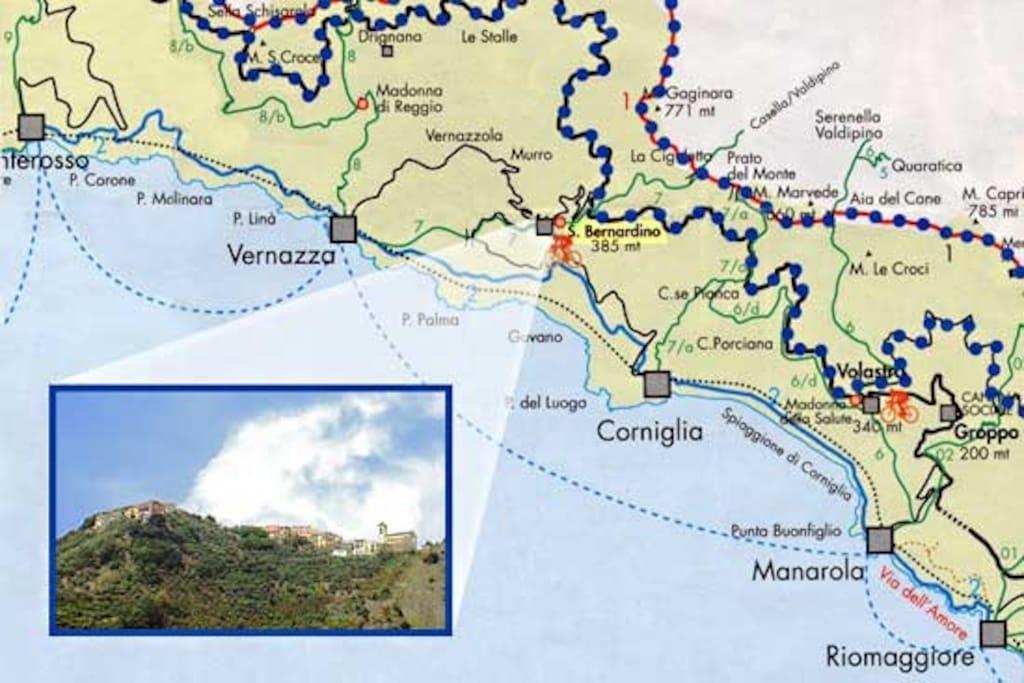 Mappa per raggiungere S.Bernardino