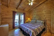 Upper level King Bedroom with private deck with GA Mountain View