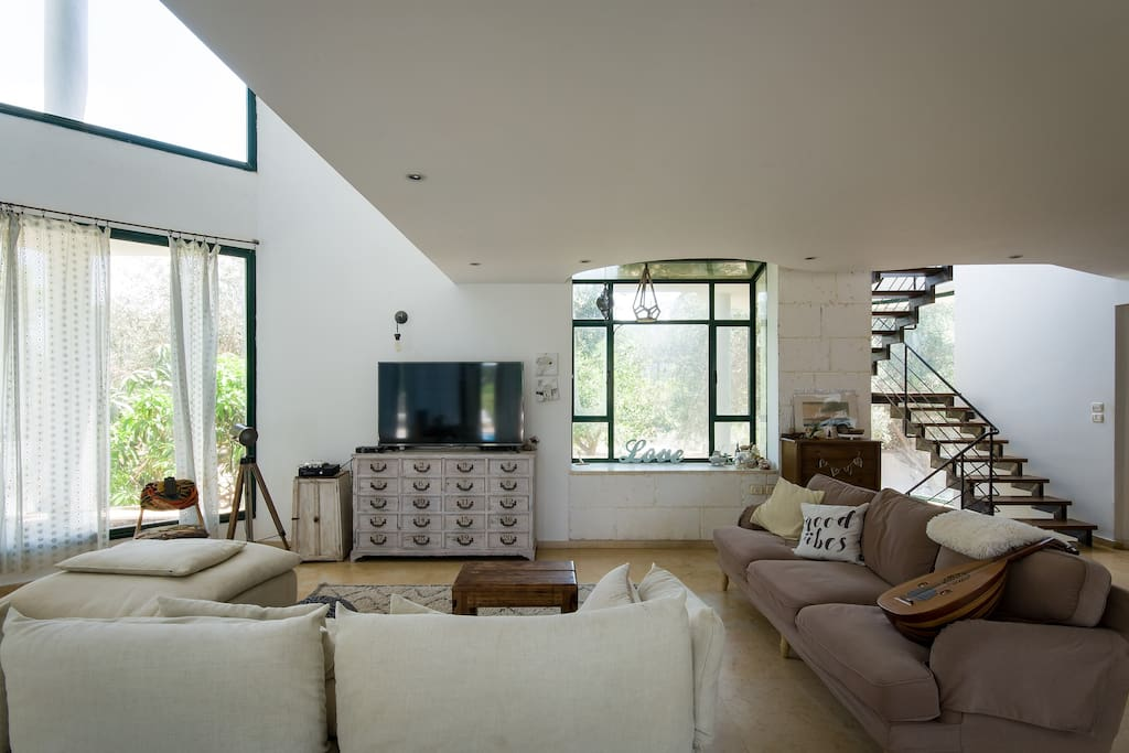 Living room with tv and forest view