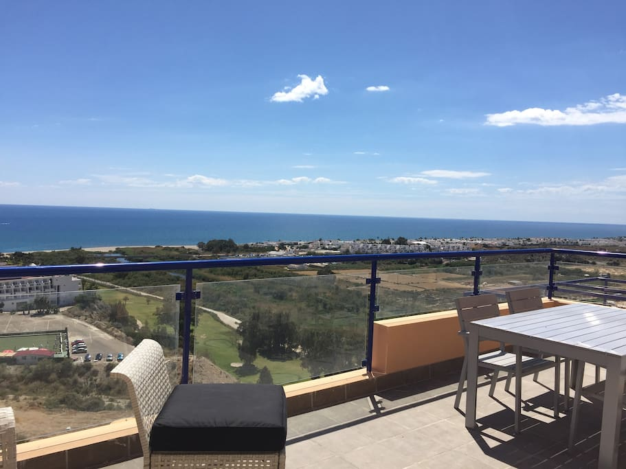 A fantastic view of the sea and the golf course from the terrace.