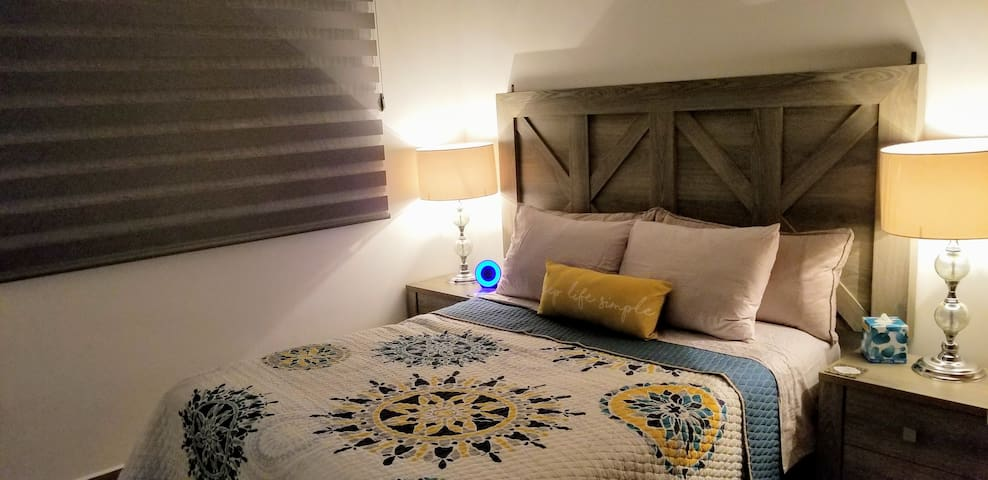 3rd Bedroom Queen Size Bed with High Quality Mattress / Cozy Pillows  and  Alarm Clock with Relaxing Sounds and USB charging port