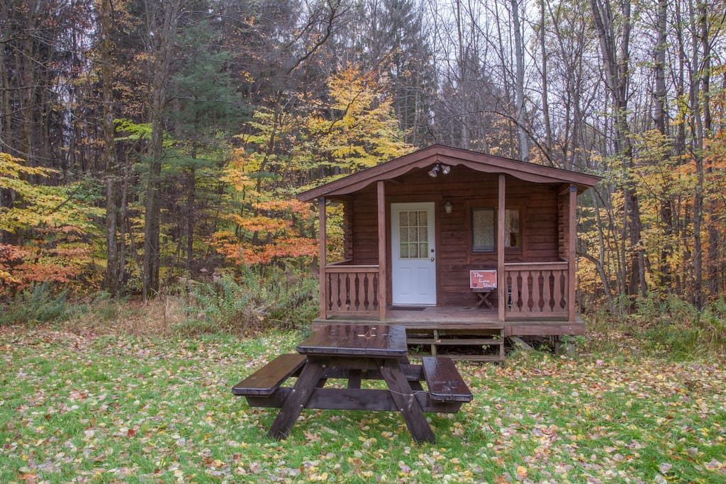 Log cabin love shack camping cabin cottages for rent in for The love shack cabin