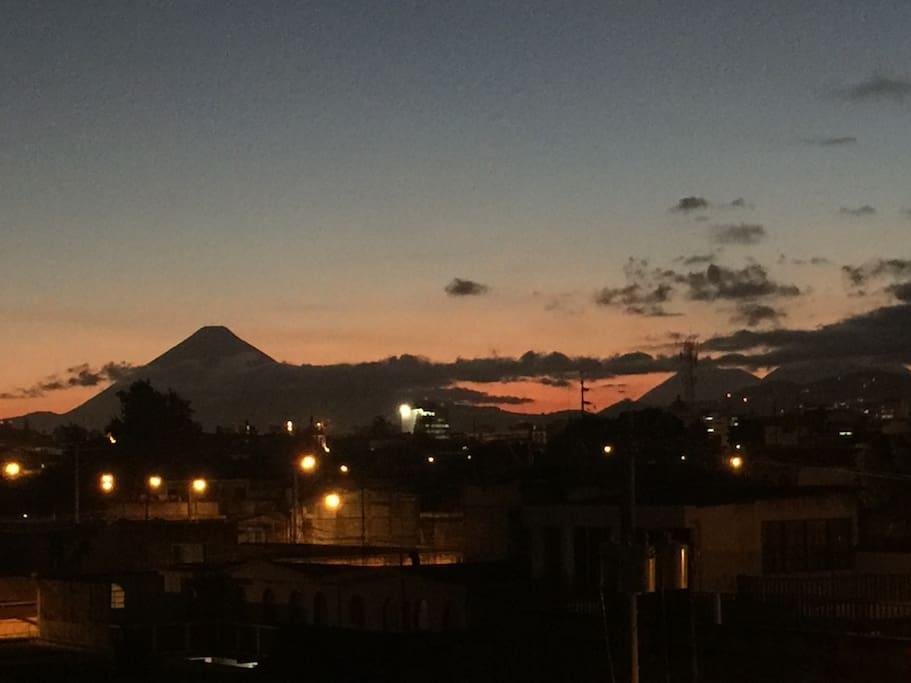 Volcano and city view