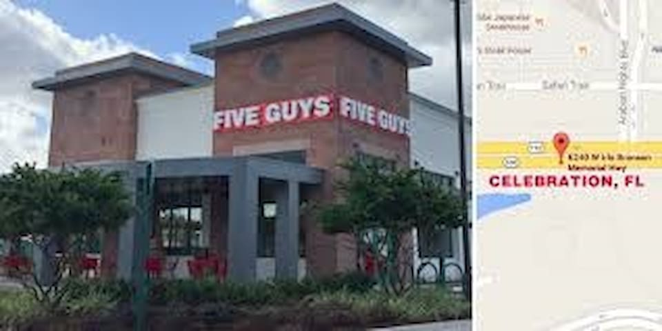 Five guys burger place across the street