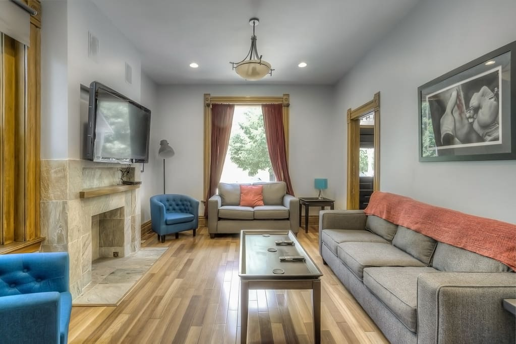 Open living room with pullout queen couch