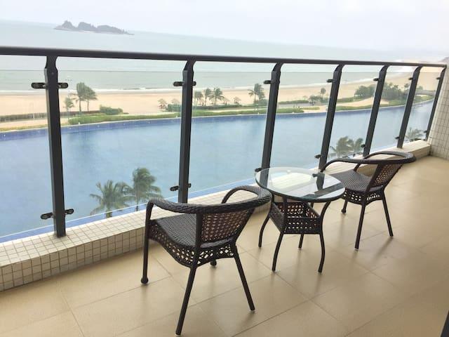 与海为邻与妩媚的三山岛为伴享受人间美景敏捷黄金海岸正海景两室一厅4床逸海度假公寓