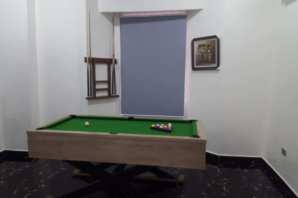 A pool table for family and friends