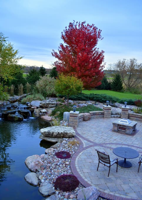 Backyard with swimming pond