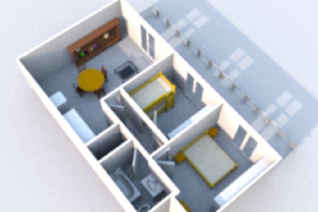 Vista degli interni e del balcone