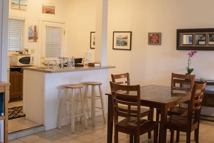 Enjoy home cooked meals from your kitchen in the dining area.