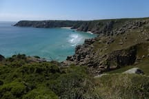 View from Logan Rock, towards the Minack Theatre & Porthcurno.