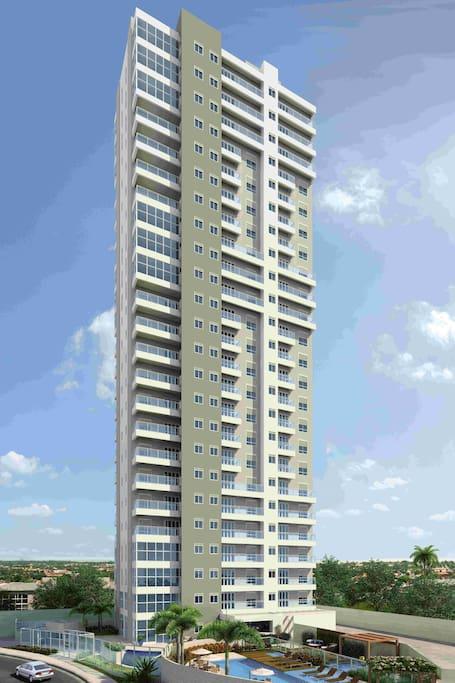 Vista geral da torre onde esta situada o apartamento.