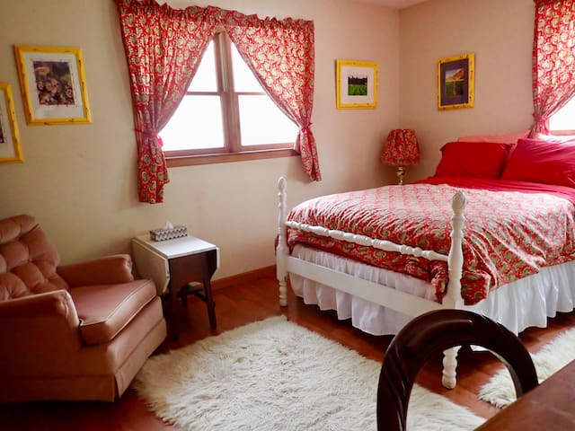 Red Bedroom Upstairs on Farm