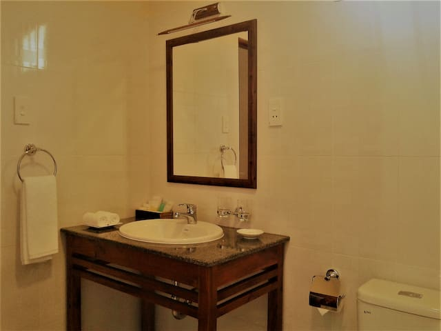 Wash basin counter in the bathroom.