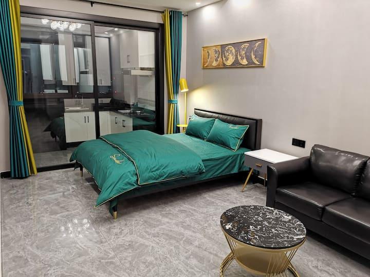 体育路和平路市中心商圈轻奢风,绿都国宾府可做饭公寓。鹦鹉螺民宿