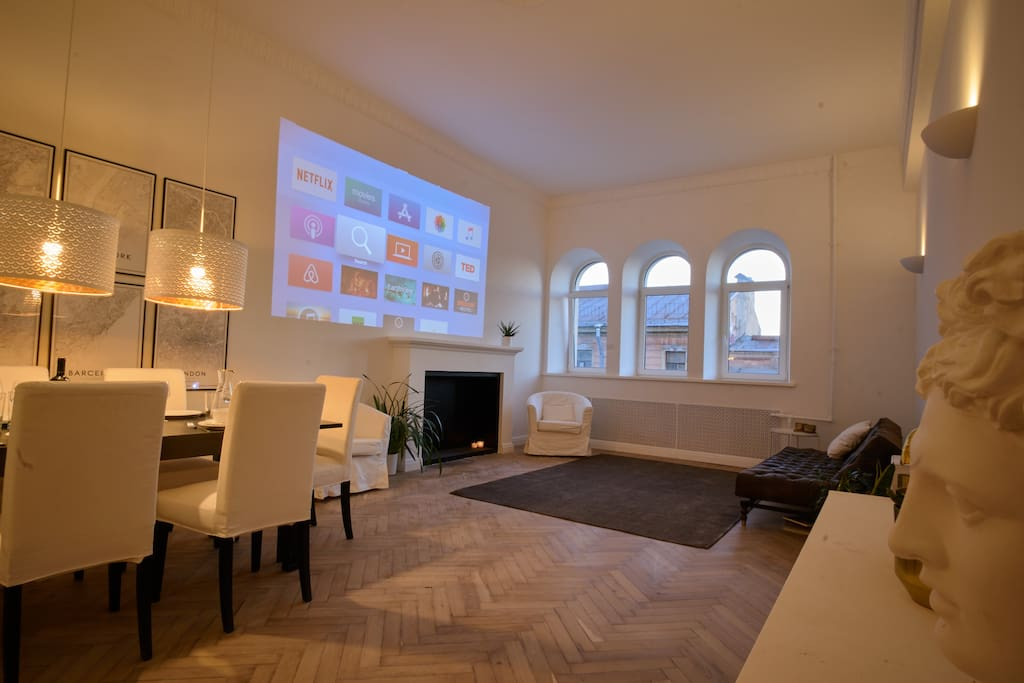 HD Videoprojector to enjoy your favorite serials and movies like in cinema. (stream your content wireless from your device to apple tv)