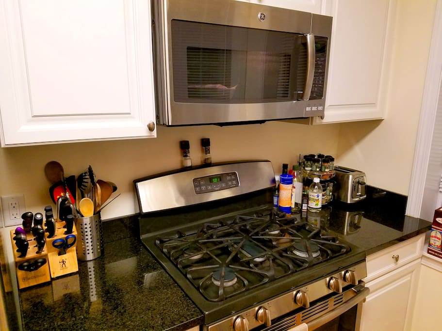 A fully equipped kitchen with new appliances