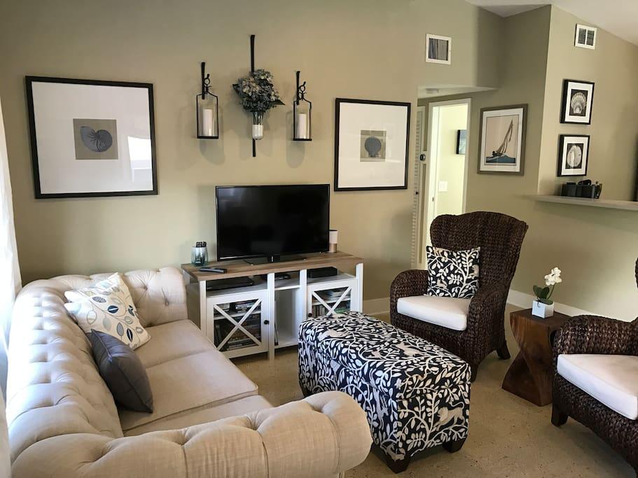 Open floor plan, kitchen/living space.