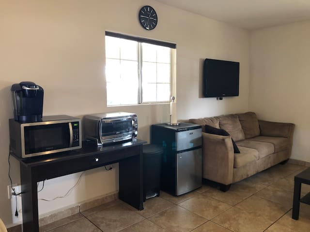 Coffeemaker, microwave, toaster oven, and refrigerator