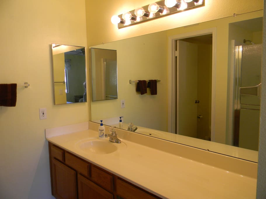 Master bath with large vanity; separate toilet and shower