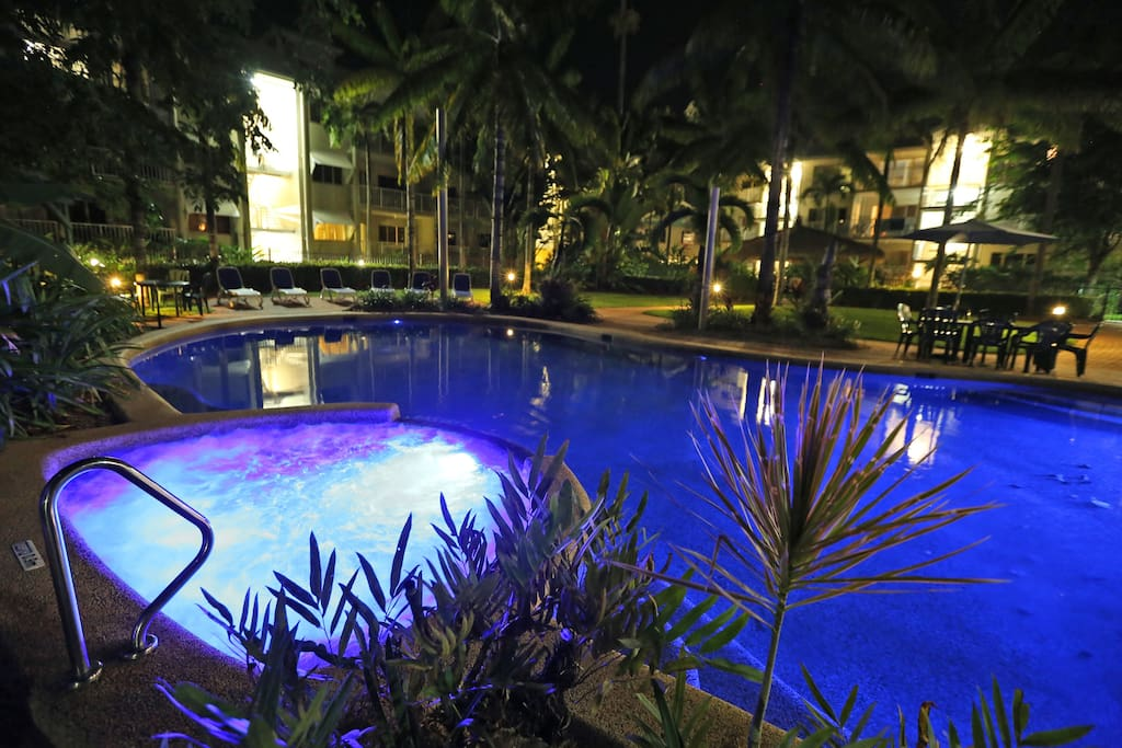 Stunning pool in the evening