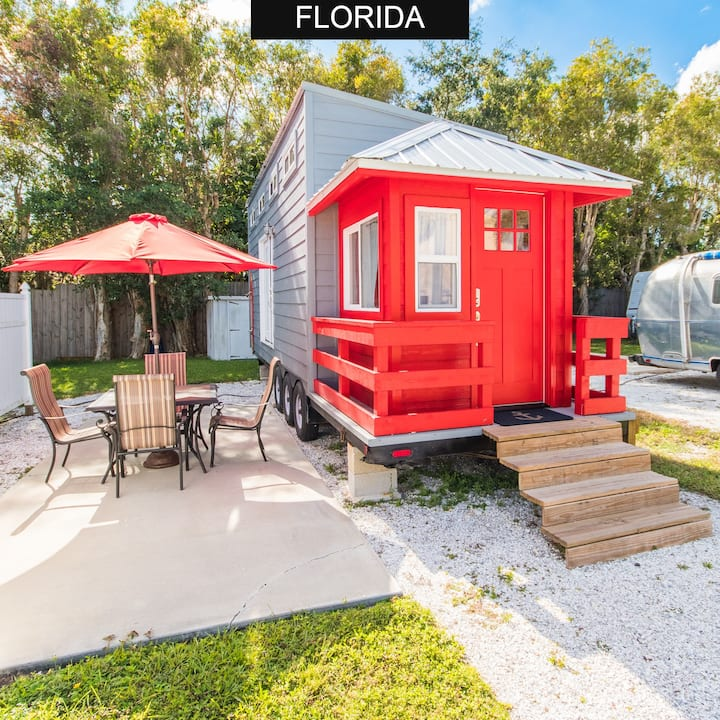 Red Lifeguard Stand - Living large in a Tiny House with FREE WiFi