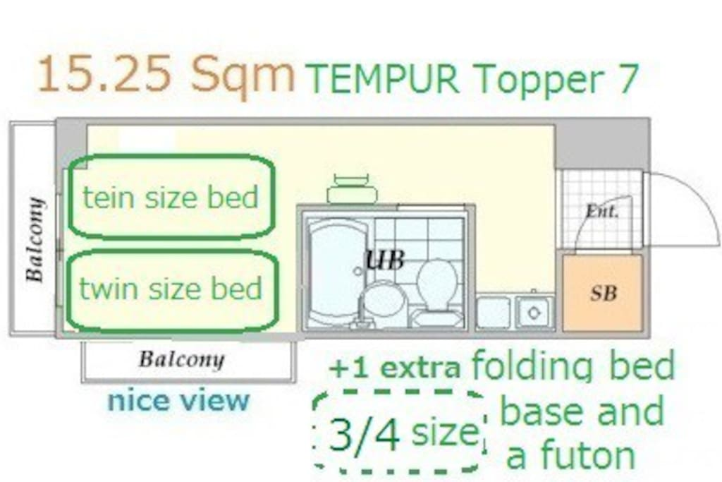 small room. Tempur topper 7 is 1,000yen /stay. reservation required