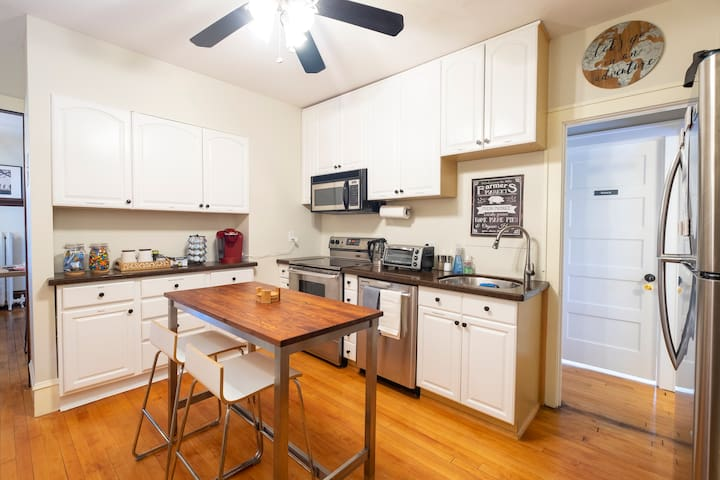 Fully stocked kitchen is available at your disposal. We provide all of the utensils, pots and pans, as well as dedicated fridge space in case you wish to cook while on your trip.