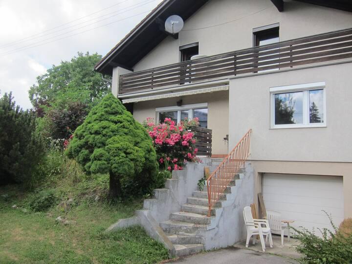 Haus mit Terrasse / Büroarbeitsplatz / Garten