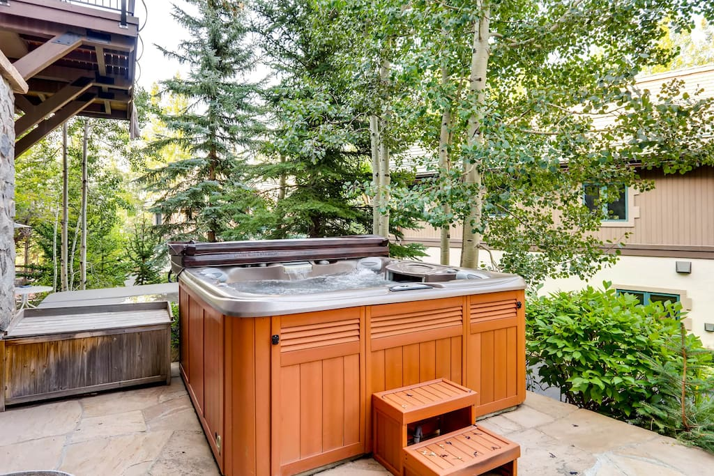 Slide into your private hot tub after a day exploring the mountain.