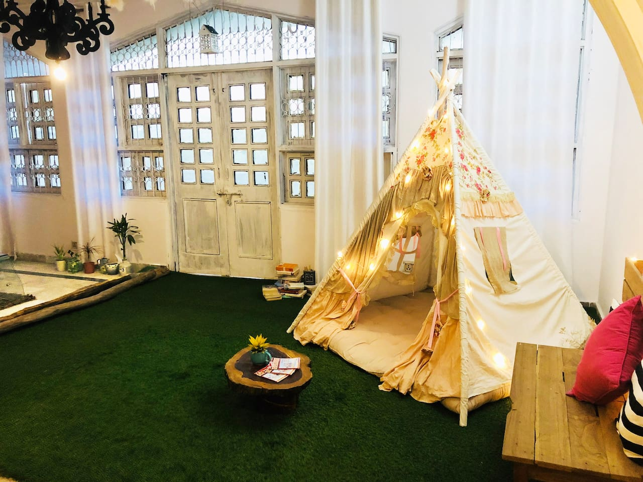 Living Area with a Teepee Tent