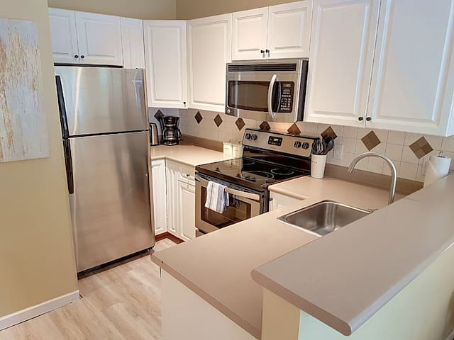 Kitchen with everything you need! Stainless dishwasher not shown.