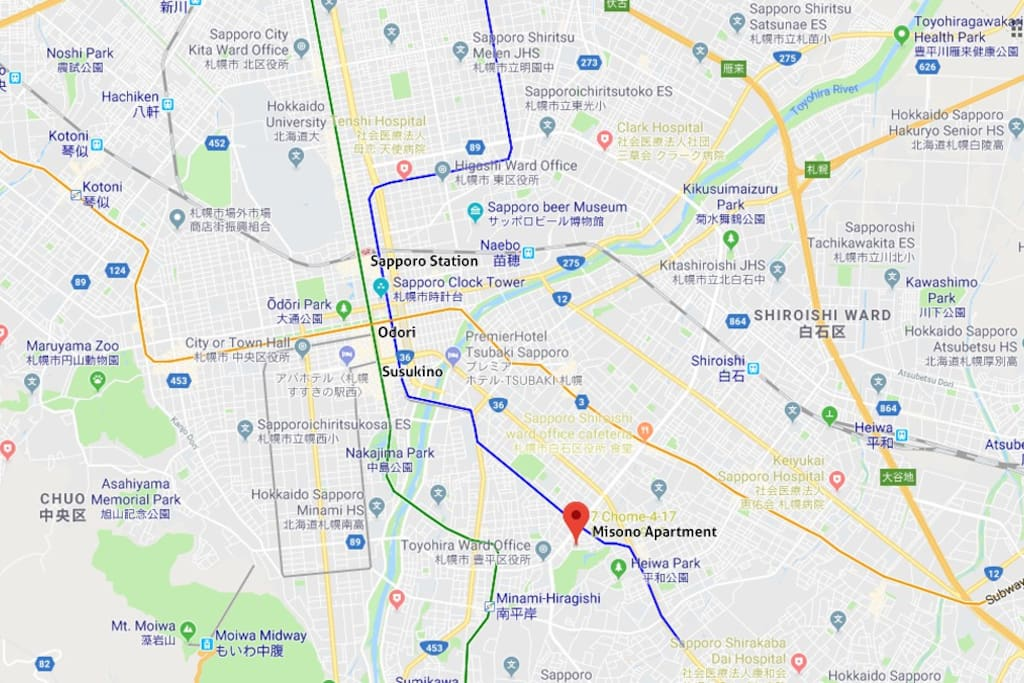 Misono is located a bit in the South of Sapporo, on the Toho-Line, which conveniently connects you with all the important stops in Sapporo: Susukino, Odori and Sapporo Station.