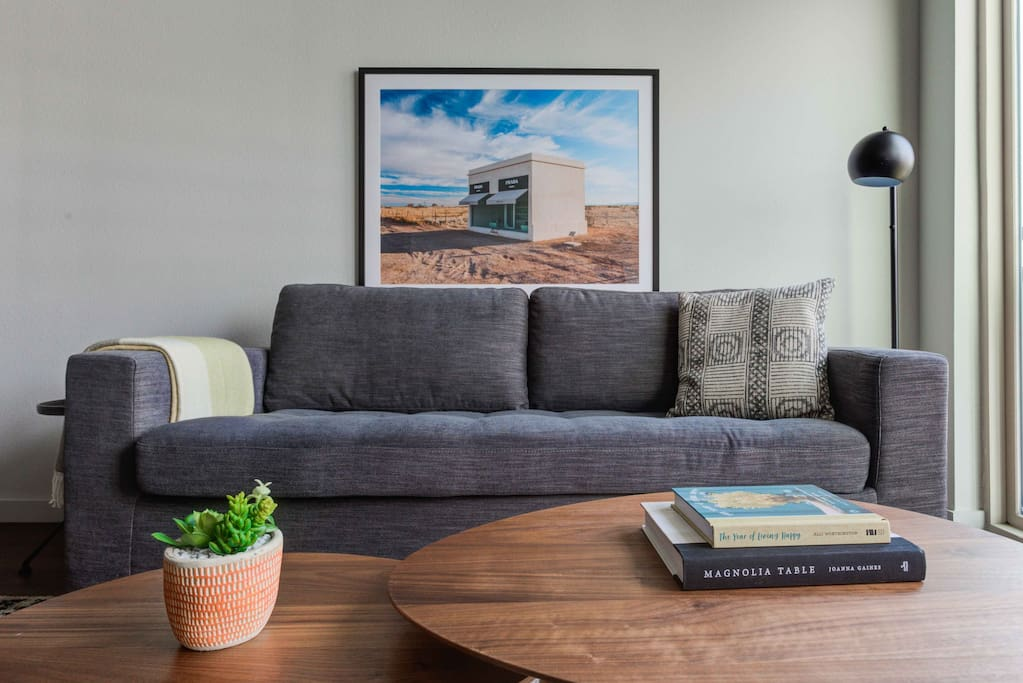 Stylishly furnished living room, with a queen sleeper sofa from Article furniture