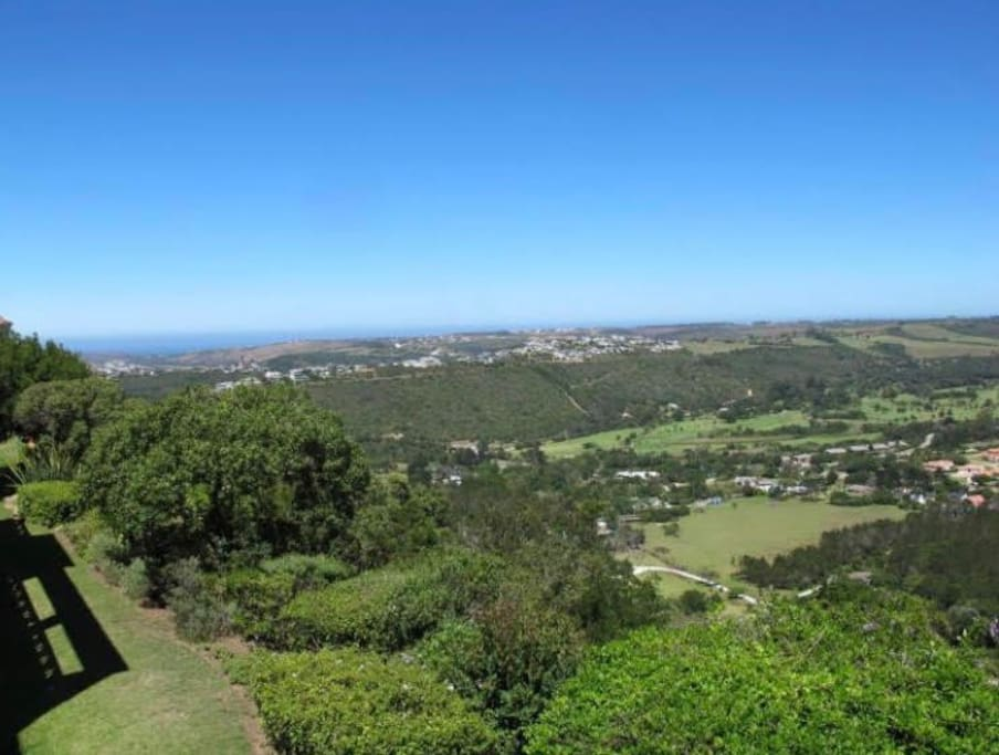 The beautiful view of the sea, Piesang Valley and the Plettenberg Bay Country Club Golf Course from the balcony.
